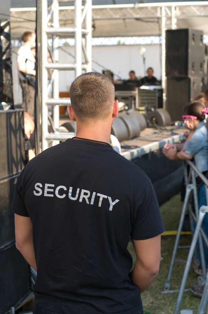 concert security guard watching the stage